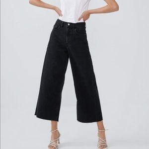 NWOT Zara High Rise Black Denim Culottes